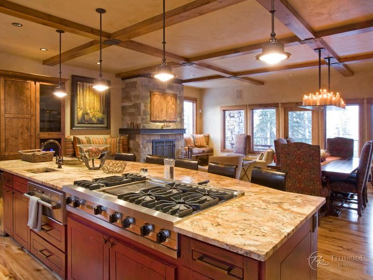 Large Upscale Kitchen Islands | The Large Kitchen Island With Range, Oven  And Sink Overlooks
