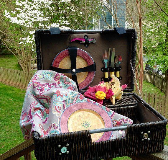Wedding Gift  Picnic Basket Set  Handmade Picnic by PicnicLovers