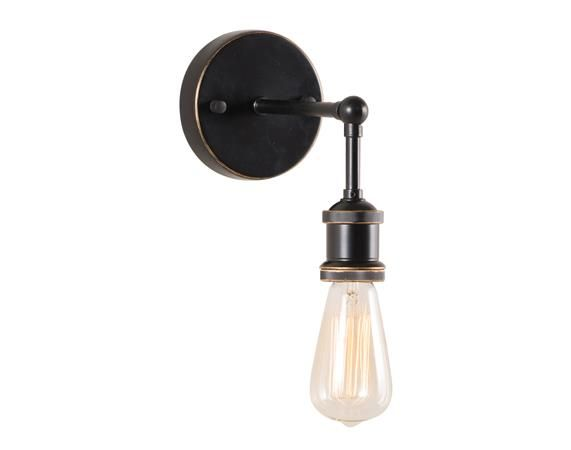 The perfect 'urban loft' sconce. Antique black and copper set off the clear filaments of the sleek bulb.