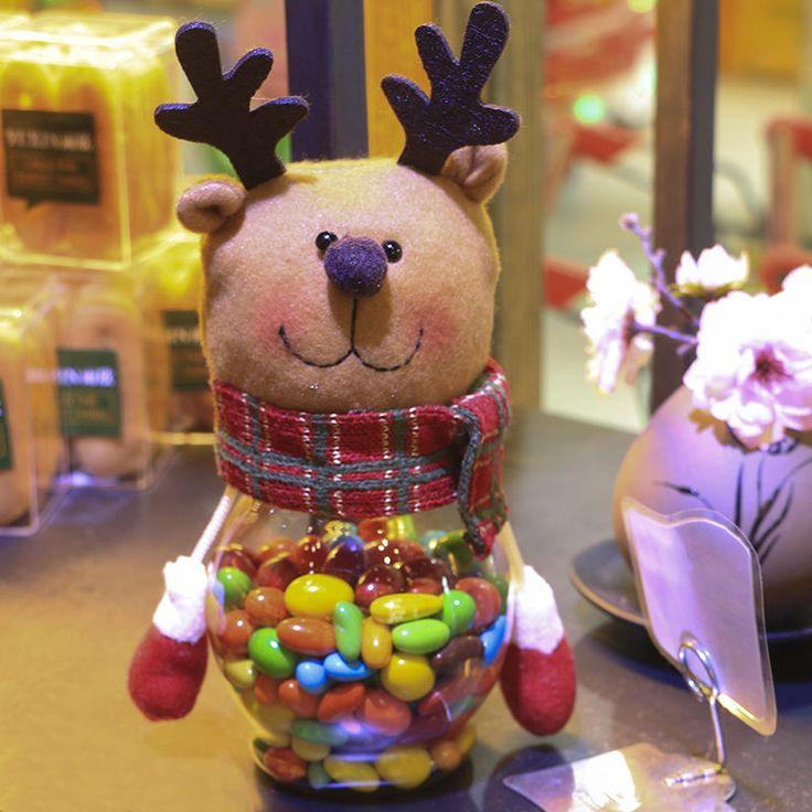 Рождество Конфеты Банку Санта Клауса/Снеговик/Лось Рождественский Подарок Рождество Рабочего Стола Окно Украшения Украшения C купить на AliExpress