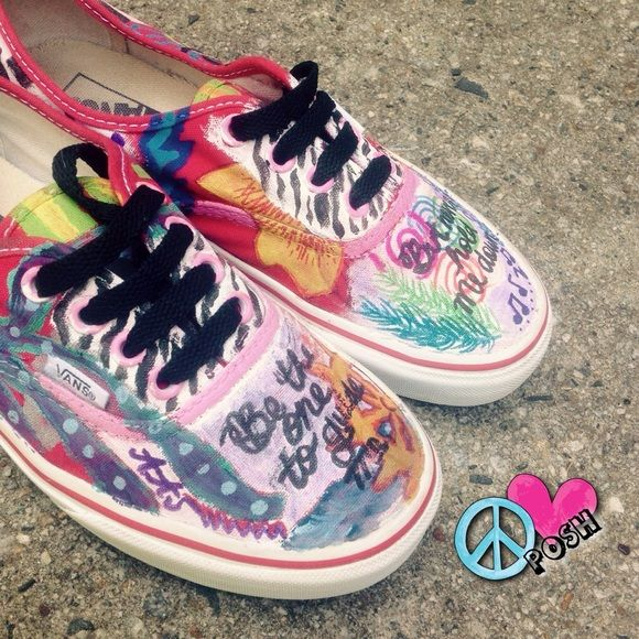 Hand Painted VANS So POSHING AWESOME ! So Freaking Cool ☮ Hand Painted 'VANS'  ☮  ✌ Size 7 ( TTS) ✌️ PRELOVED in GOOD CLEAN Condition ✌️ Questions ? Please ask     ❌❌NO TRADE❌❌ Vans Shoes Sneakers