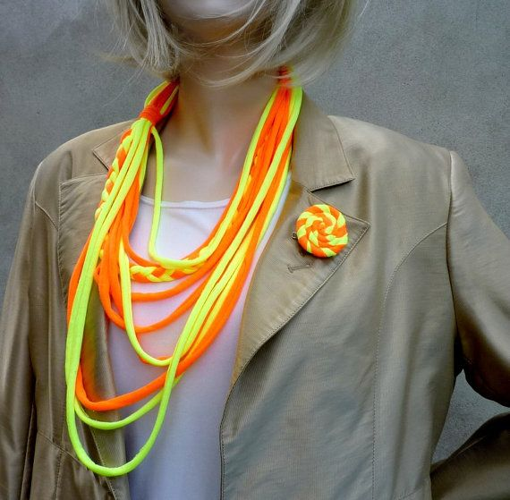 Fashion neony fabric  necklage with brooch by wandadesign on Etsy, €20.00