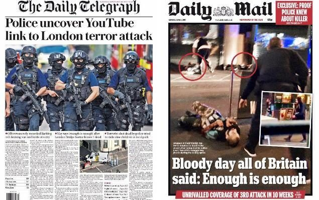 """'Enough is enough': How newspapers in Britain and around the world covered the London terror attacks on Monday morning Sitemize """"'Enough is enough': How newspapers in Britain and around the world covered the London terror attacks on Monday morning"""" konusu eklenmiştir. Detaylar için ziyaret ediniz. http://xjs.us/enough-is-enough-how-newspapers-in-britain-and-around-the-world-covered-the-london-terror-attacks-on-monday-morning.html"""