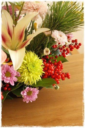 【今日の贈花】新春のお花は・・・|Flower note の 花日記 (横浜・上大岡 アレンジメント教室)