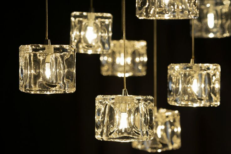 Square Ice cube like glass pendant light shades