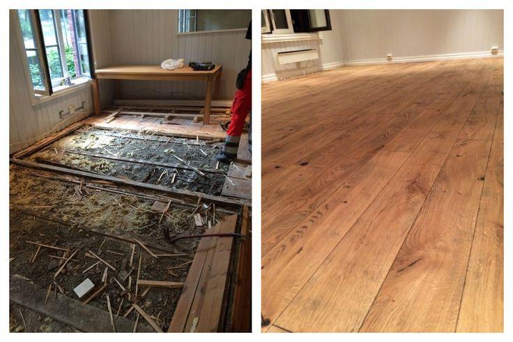 Gammelt #gulv fjernet og nytt #eikegulv lagt etter #avretting.