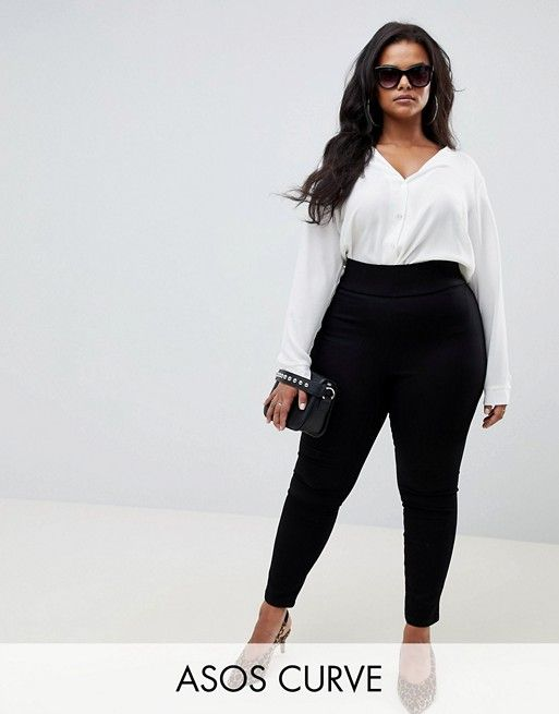0326a272313 DESIGN Curve pull on jegging in clean black in 2019