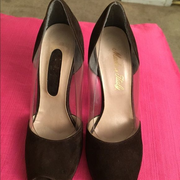 VTG:Peep-toe chocolate brown shoes Suede with the combination of clear thick nylon material. Size 6.5 .clean and in good shape. Shoes