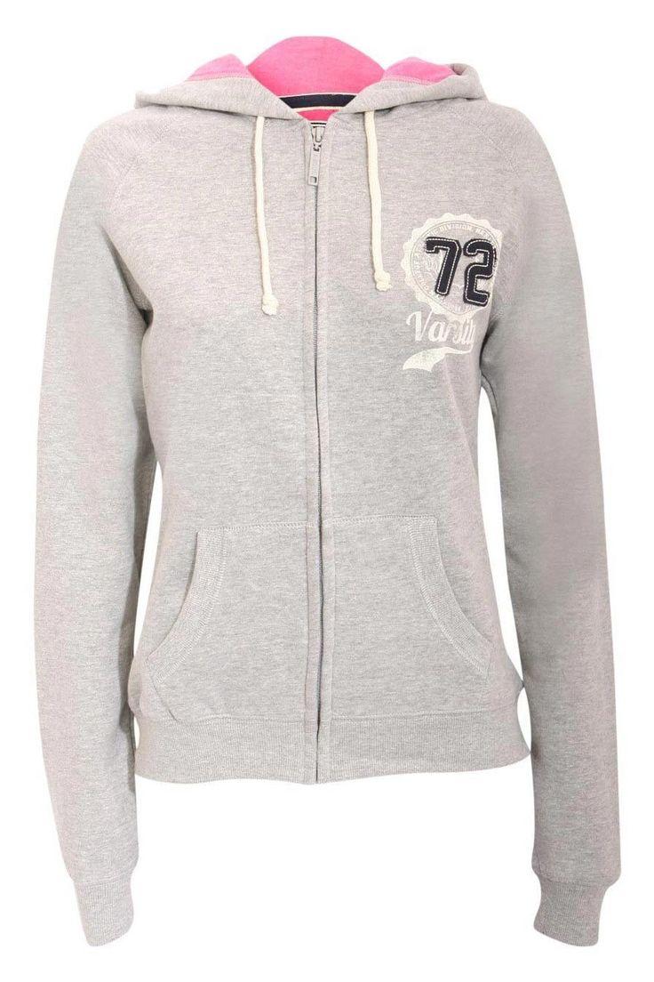 Lexy Varsity Print Zip Hoodie Top in Grey