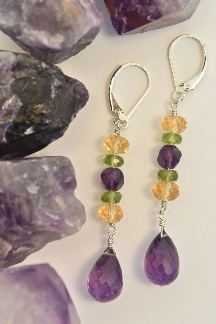 Amethyst, Citrine & Peridot Multi Gemstone Dangle Earrings in Purple, Yellow & Green.  These Earrings are Elegant and Unique - Perfect for a Night out or to Dress up a Pair of Jeans - a Versatile Look. Handmade with Natural Gems & Crystals and Expertly Finished in Sterling Silver by: Love, Ludwiga - you can visit the shop: https://www.etsy.com/ca/shop/LoveLudwiga #loveludwiga