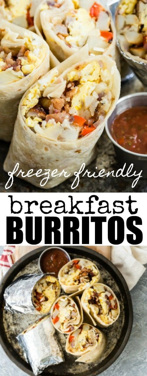 An easy make-ahead Breakfast Burrito Recipe. They go straight from the freezer to the microwave for a quick, nutritious breakfast.