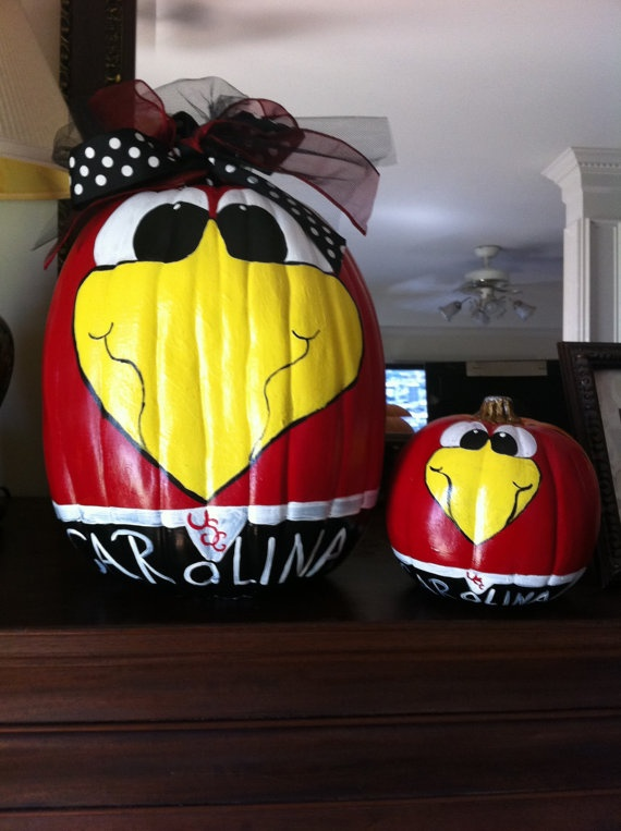 tailgate large plastic pumpkin painted with a gamecock mascot cocky great decoration for fall tailgating and halloween - Large Plastic Pumpkins