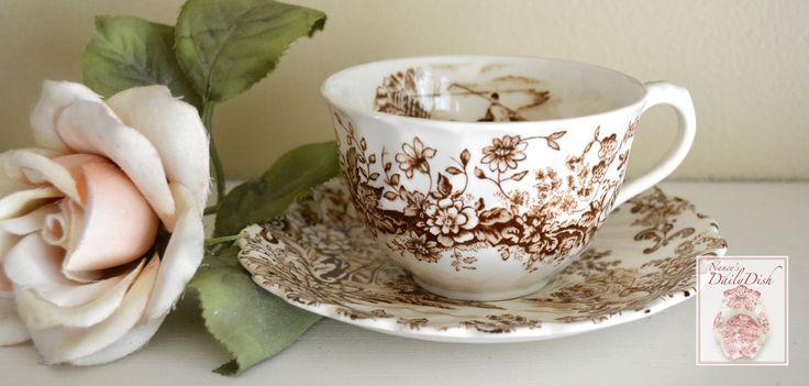 Peaceful Summer Waterfall Mountains Brown Tea Cup & Saucer Transferware Scrolls & Roses