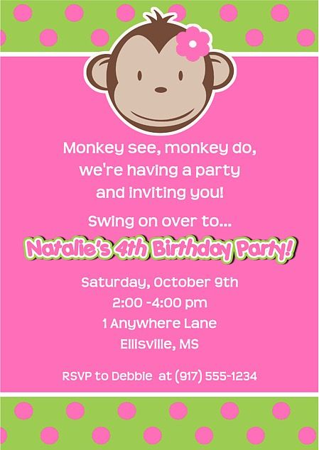 Mod Monkey Birthday Party Invitations Girl