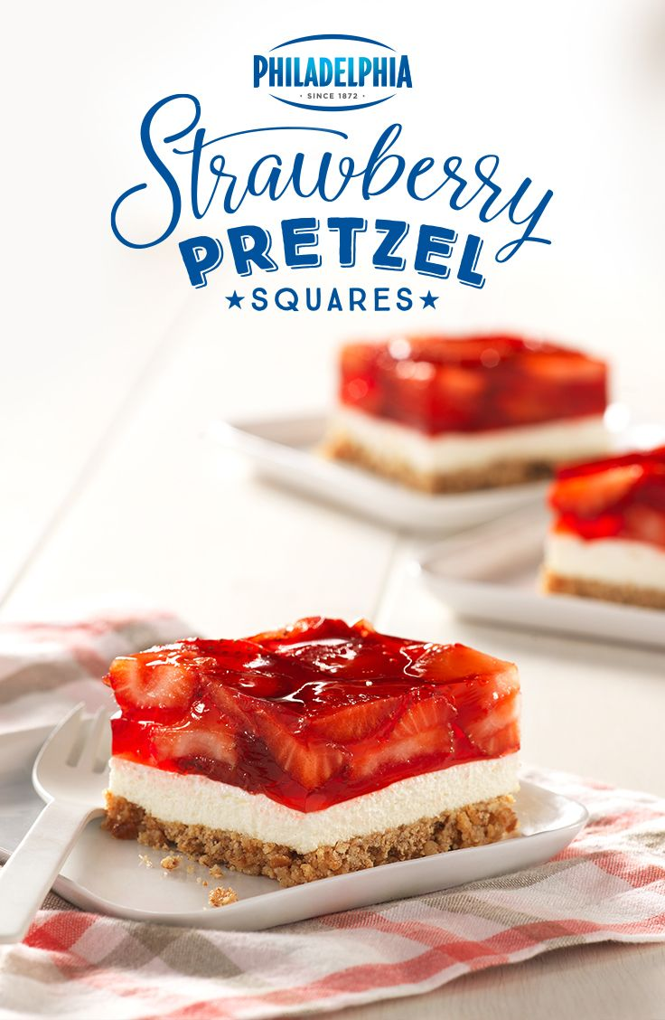 What's crunchy, white and red all over? Our Strawberry Pretzel Squares are guaranteed to please at your next picnic or by the pool. (Bake Cheesecake Strawberry)