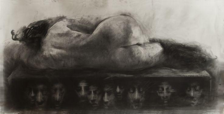 made by nikos christoforakis, charcoal, figure, drawing