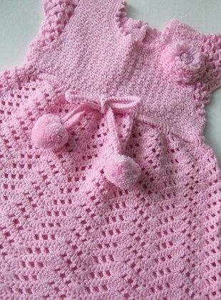 Pink crochet dress ♥LCK-MRS♥ with diagram. --- Связать сарафан для девочки крючком