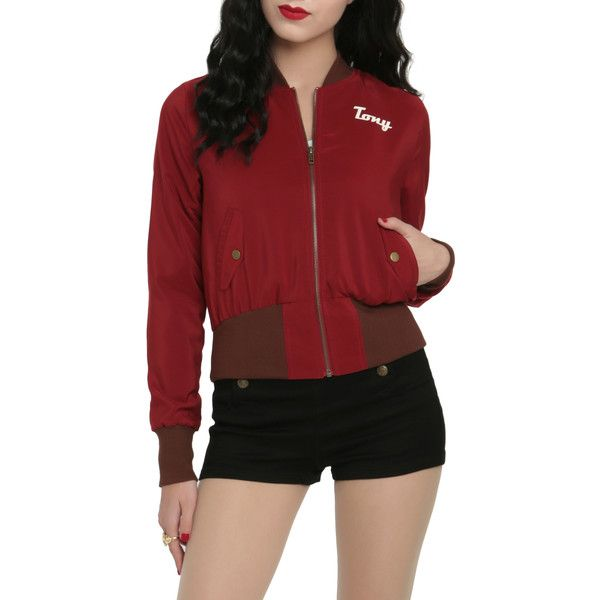 Marvel Her Universe Stark Industries Girls Bomber Jacket ($44) ❤ liked on Polyvore featuring outerwear, jackets, hot topic, jackets cardigans & coats, the avengers, zip bomber jacket, flight jacket, red zip jacket, retro jackets and zipper jacket