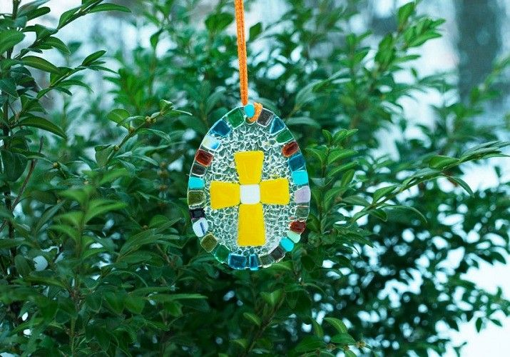 Oval stained glass cross, Special Price $7.00, catalog of St Elisabeth Convent. Made to order.  #crucifix #Golgotha #cross #church #icon #orthodox #life #God #Jesus #Christ #faith #love #handmade #catalogofgooddeed #christianity #glass #souvenir #egg #pendant