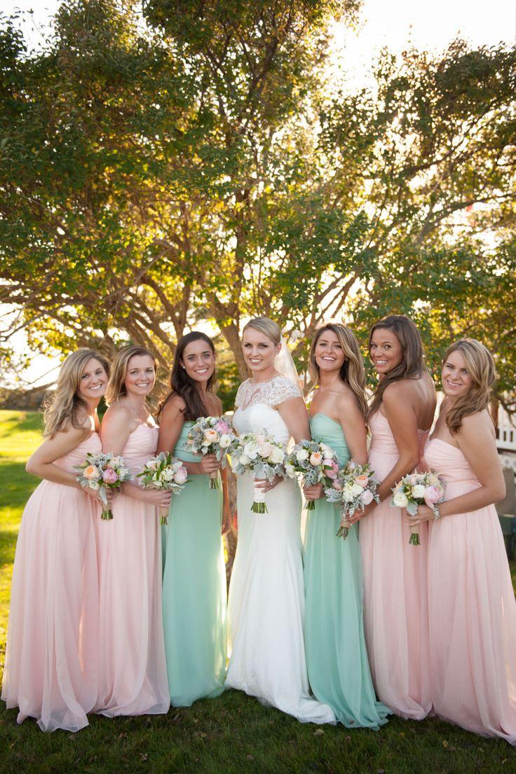 Pretty pastel gowns: http://www.stylemepretty.com/2015/04/08/romantic-fall-kennebunkport-wedding/ | Photography: Stephanie A Smith - stephanieasmithblog.com