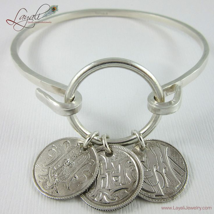 Sterling Silver Love Token Bracelet with Antique Victorian Dime Tokens by LayaliJewelry on Etsy $160.00