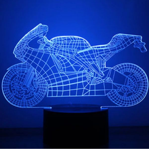 3d Led Illusion Usb 7 Color Change Table Night Light Motorcycle Pattern Night Light Illusions Color Change