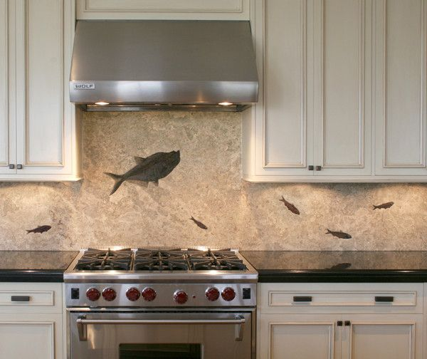Backsplashes fossil art by green river stone company for River rock backsplash ideas