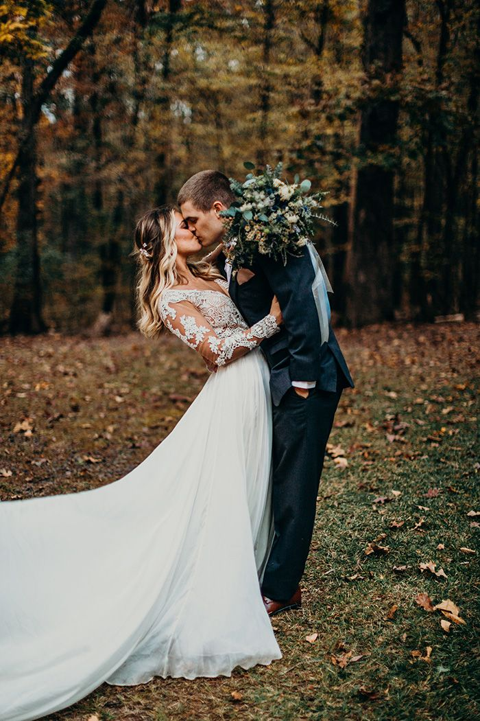 Winter Woodland Wedding with a Boho Bridal Gown