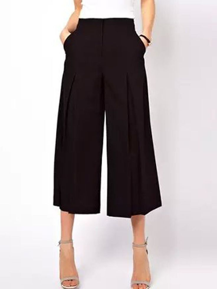 Black, High Waist, Plain, Wide Leg, Palazzo Pants