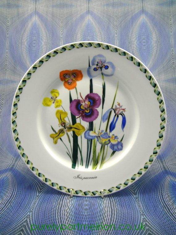 items similar to vintage portmeirion china dinner plate in ladies flower garden design iris pavonia on etsy