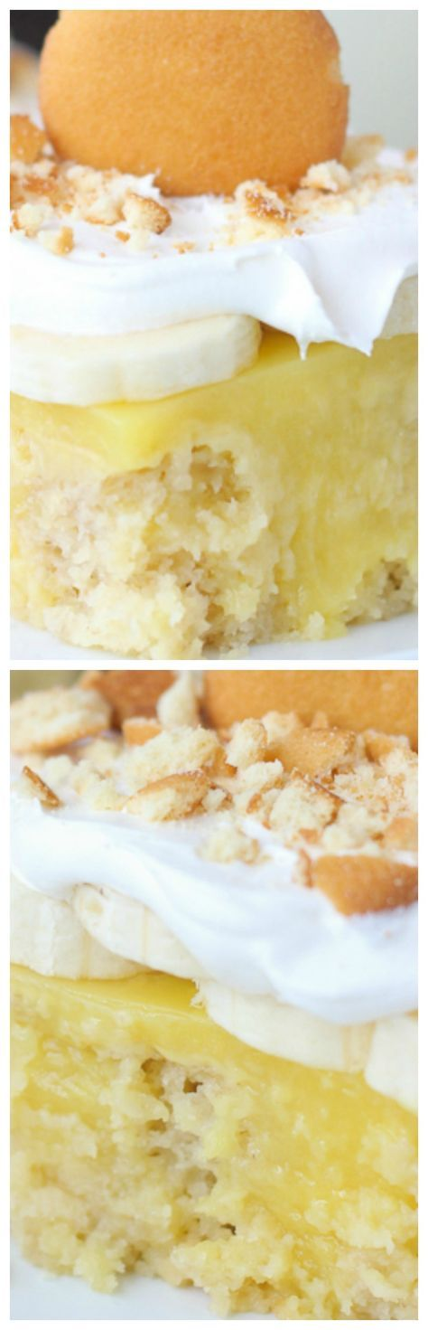 Easy Banana Pudding Poke Cake ~ This is a banana and brown sugar cake filled with vanilla pudding and topped with fresh sliced bananas, whipped cream and crushed vanilla wafer cookies.