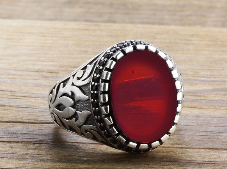 925 K Sterling Silver Man Ring Red Quartz Gemstone $28.39