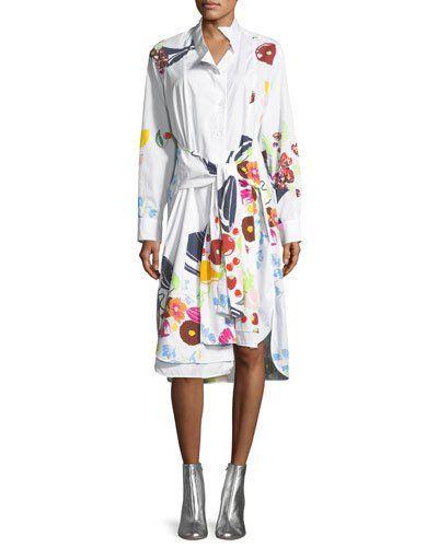 B42GH Loewe Fruit-Print Cotton Shirtdress