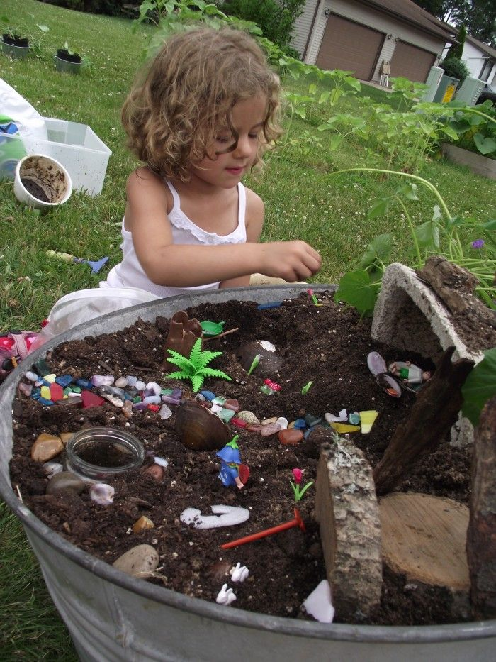 Fairy Garden Their own spot to dig, plant, whatever they want in a wash bin. @Rachel Simmons