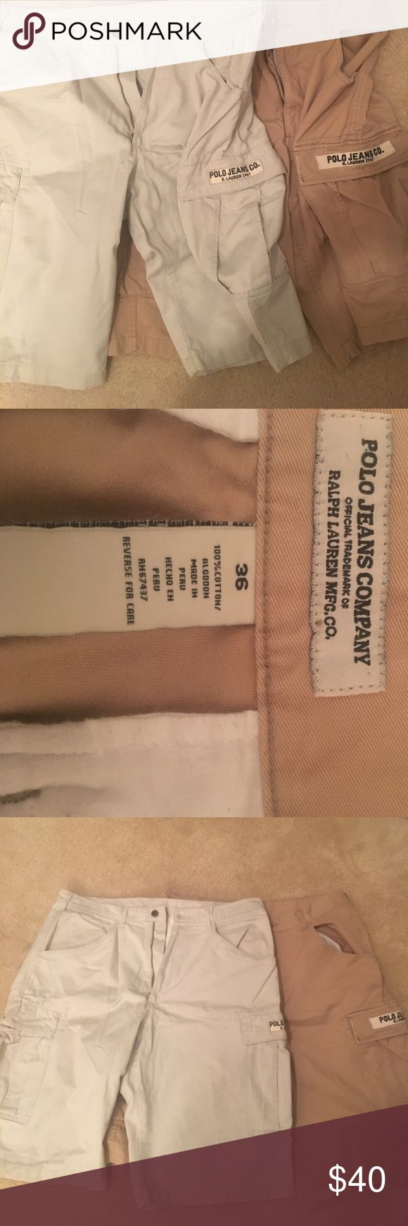 Polo Jeans Company Cargo Short Ralph Lauren Polo Cargo Shorts. Size 36 for both. Dark and light khaki colored. Sold as a pair! Polo by Ralph Lauren Shorts Cargo