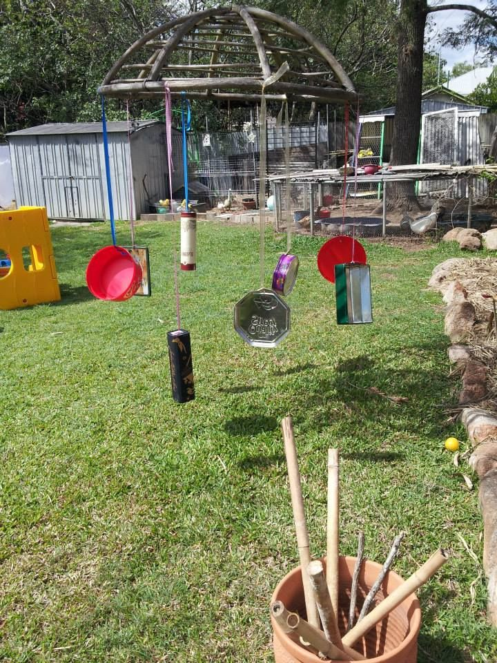 Hanging tins and tubes and sticks to bang them with - Raylene's Family Day Care ≈≈