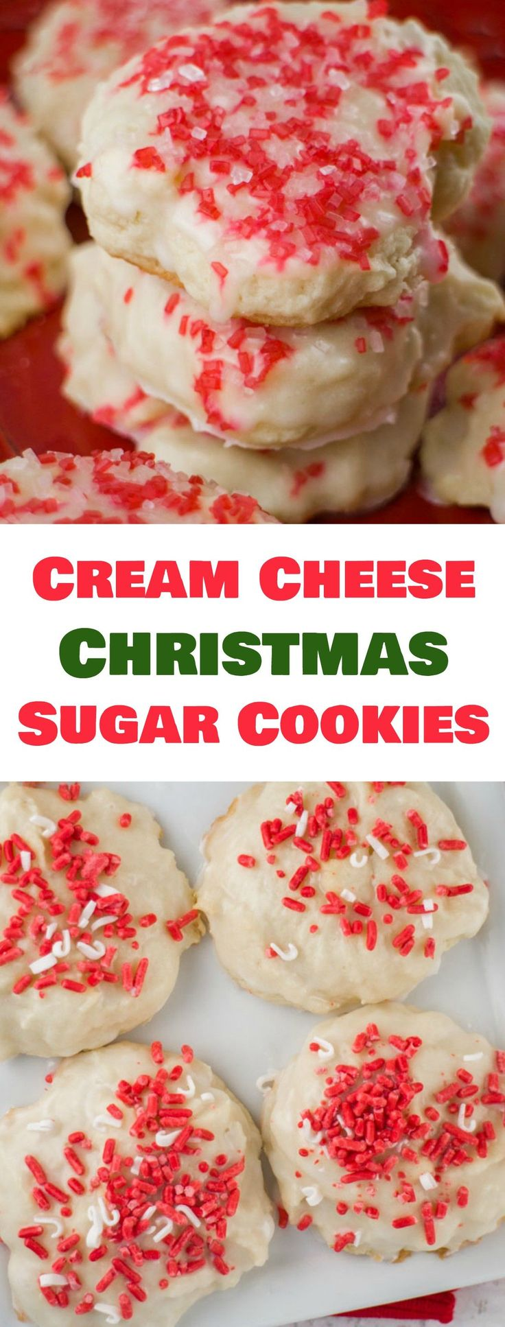 These Christmas Sugar Cookies are so soft because they are made with cream cheese! Dip each cookie into vanilla glaze and then top with festive sprinkles! Recipe makes 48 cookies.