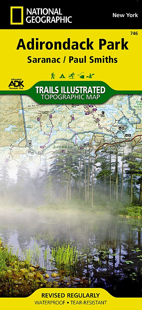 Adirondack Park, Paul Smiths and Saranac, Map 746 by National Geographic Maps