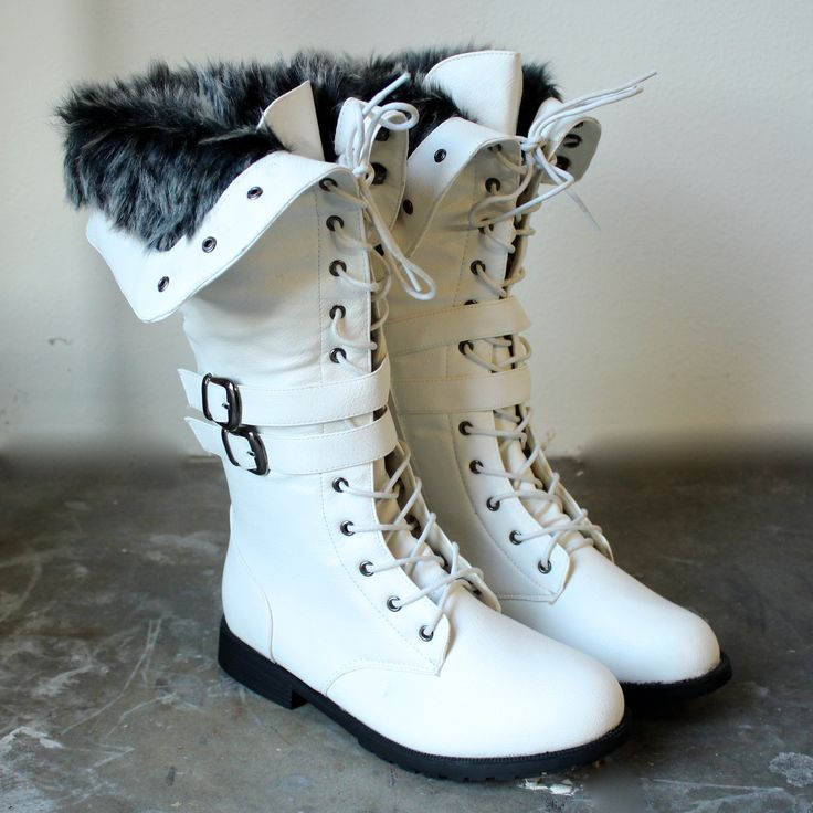 white wonderland boots with fur #shophearts