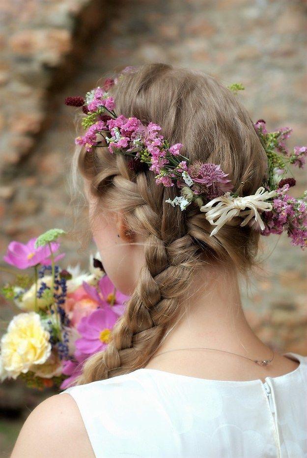 Bride, Braut, Haare, zopf, Portrait, vintage, Hair, Flowers, Portrait