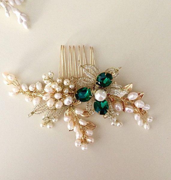 Emerald hair comb Pearl Hair comb Golden hair comb by amuandpri