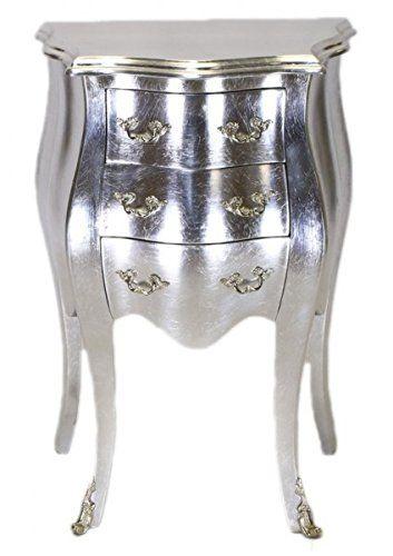 Casa Padrino Barock Kommode Silber H 70 cm, B 50 cm - Nachttisch Schrank mit 3 Schubladen: Amazon.de: Küche & Haushalt