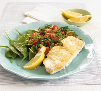Grilled Fish with tomato lentil salad