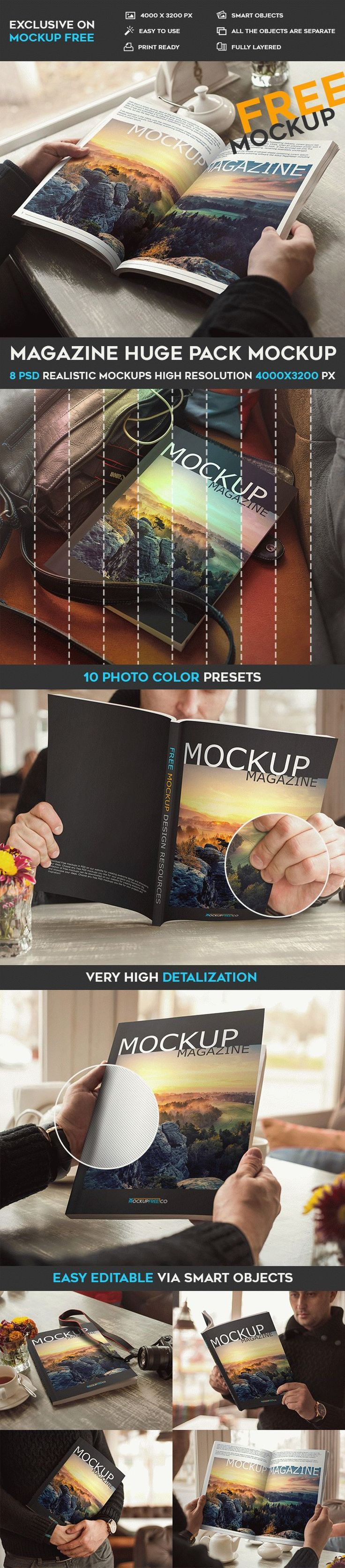 Magazine Huge Pack – 8 Free PSD Mockups | Free PSD Templates