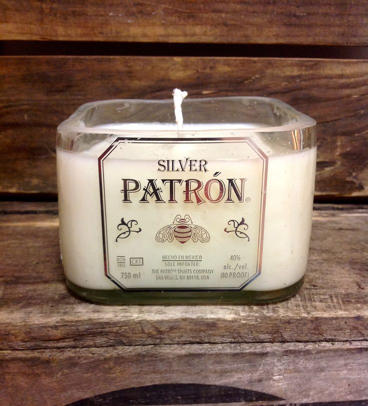 "Upcycled Lg. Patron Liquor Bottle Candle aka ""The Mandle"". $32.00, via Etsy."