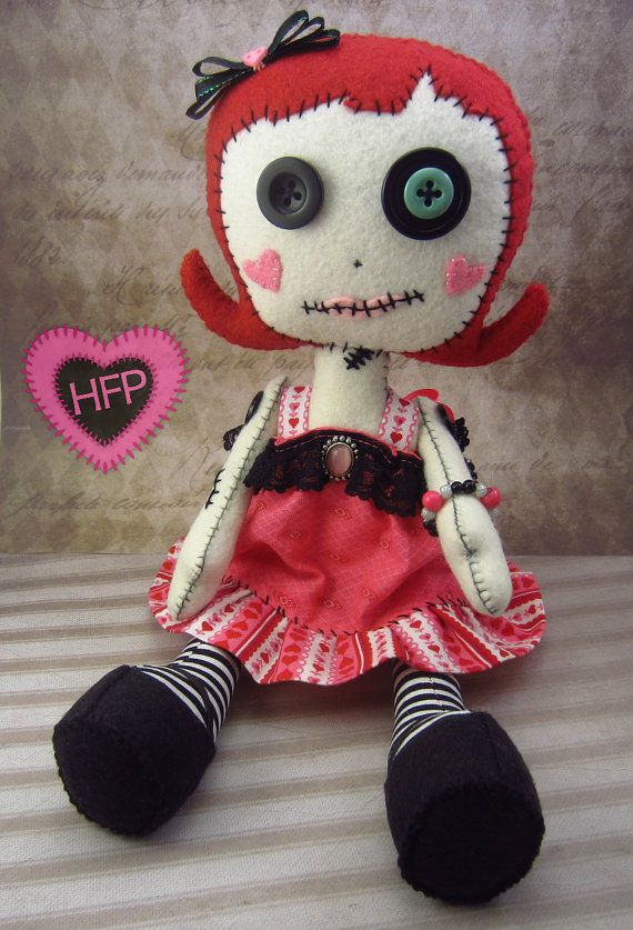 Hey, I found this really awesome Etsy listing at https://www.etsy.com/listing/223462418/goth-doll-primitive-rag-doll-button-eye
