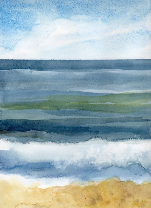 Palmiotto Sandbar Ii Jpg Seascape Paintings Watercolor Ocean