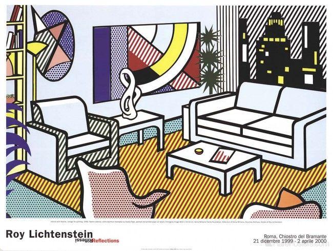 Roy Lichtenstein- Interior with Skyline, Collage for Painting