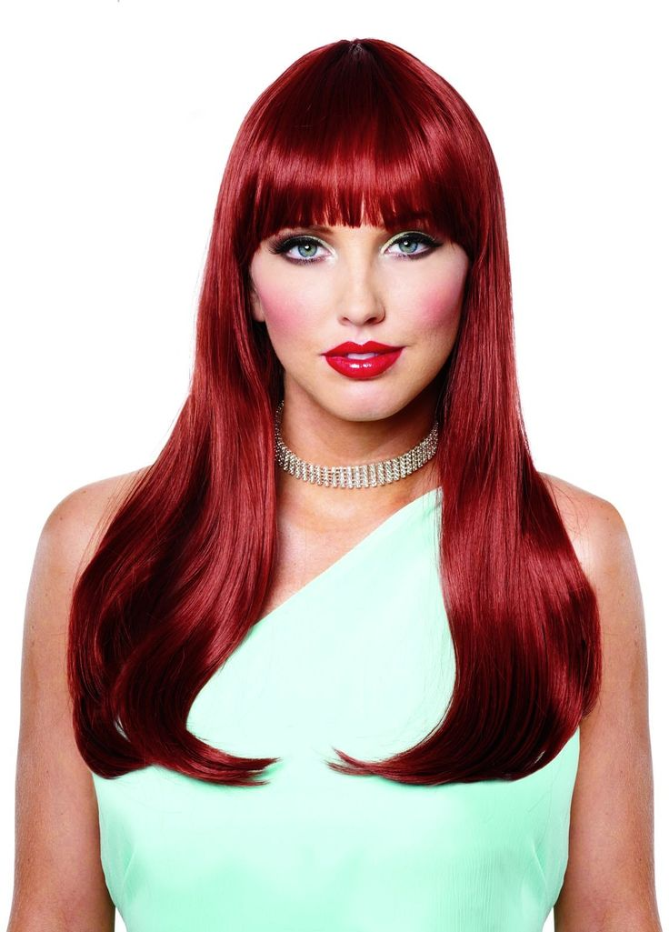 mistress wig w bangs natural red adult halloween costume accessory - Red Wigs For Halloween