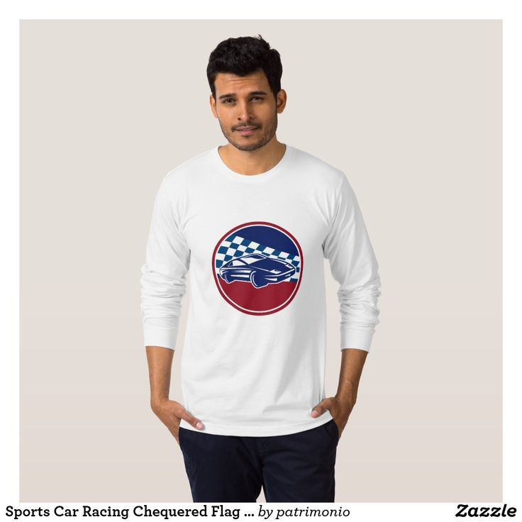 Sports Car Racing Chequered Flag Circle Retro T-Shirt. Men's long sleeve t-shirt designed with an illustration of a sports car racing set inside a circle with a chequered racing flag in the background done in retro style. #tshirt #racecar #checkeredflag